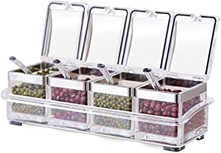 Tenta Kitchen Gourmet Acrylic Seasoning Box - Premium Quality Pure Acrylic Container and Case- 18/8 Stainless Steel Ring -...