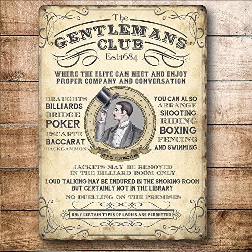 qidushop Gentleman's Club Poker Billard Boxen Stahl Plakat Retro Metall Wanddeko Kunst Shop Man Cave Bar Garage Aluminium Schild