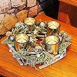 Kamaca Adventskranz aus massiven Holzzweigen mit Deko wie Tannenzweigen und Glas Kerzenhaltern inklusive 4 LED Teelichter Advent Weihnachten (grün braun)