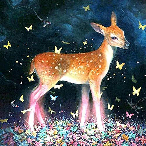 DINGQING 5D DIY Diamond Painting Zubehör Diamant Malerei Kit Sikahirsch Schmetterling Tier Bohren Voll Strass Set Gemälde Malen Nach Zahlen mit Dekoration 30x40 cm