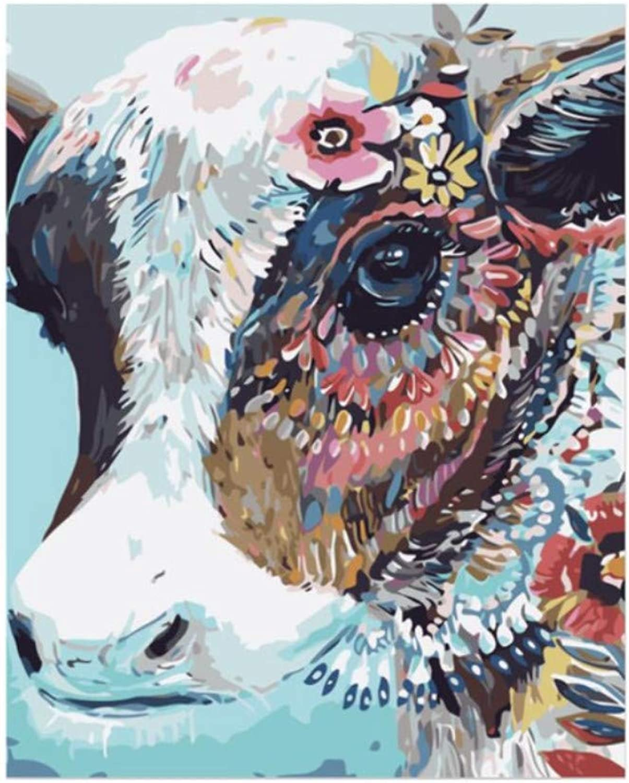WYTTT Kuh DIY Malen Nach Zahlen Abstraktes Ölgemälde Auf Leinwand Tier Acryl Wandkunstausgangsdekor Kein 16X20 Zoll Kein Rahmen B07PXD4YPS | Verschiedene Waren