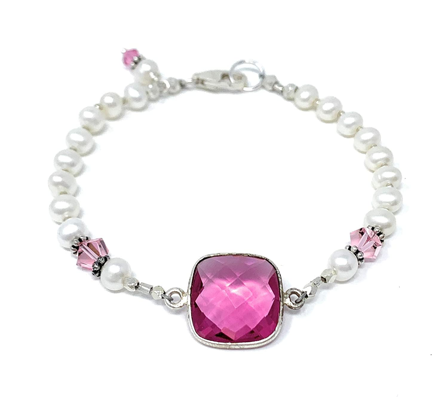 Pearl and San Diego Mall Pink Glass Bracelet Swarovski Crystals Sterli with quality assurance