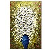 Asdam Art- (100% fatto a mano) 3D fiore bianco in vaso blu arte moderna dipinti ad olio astratti su tela parete verticale per camera da letto soggiorno decorazione della parete (24x36inch)