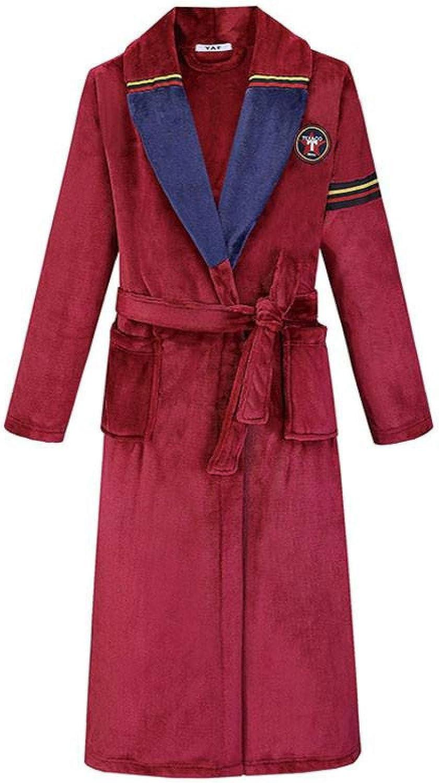STJDM Nightgown,Large Size Winter Thicken Robe Men Flannel Sleepwear Warm Kimono Gown Male Coral Fleece Nightwear Loose Bathrobe Gown 3XL 4XL 2XL BurgundyMen16