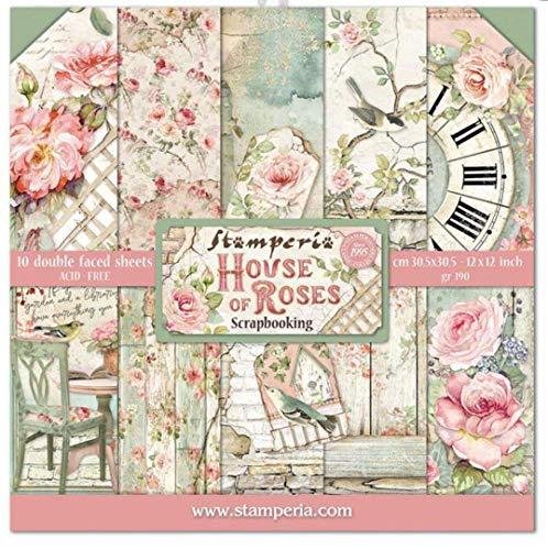 "STAMPERIA House of Roses-Bloc de Papel (10 Hojas, 30,5 x 30,5 cm, Doble Cara), multicolor, 30.5 x 30.5 (12"" x 12"")"