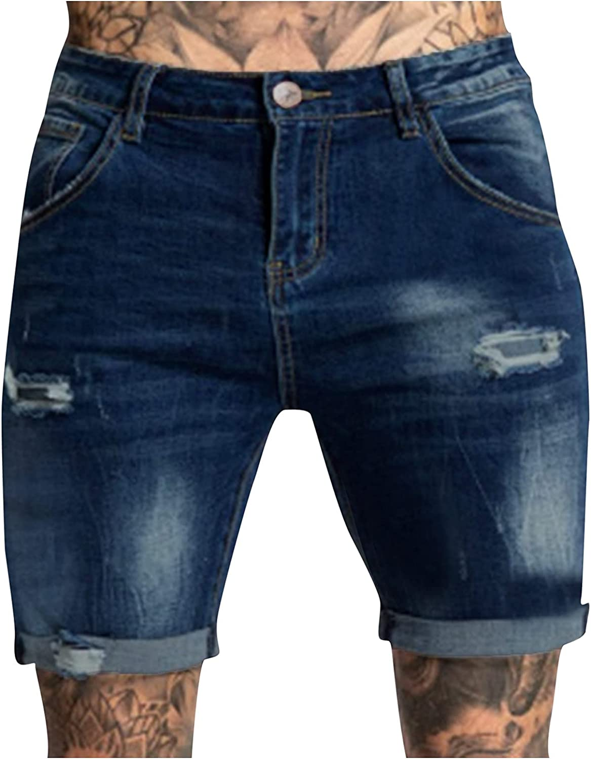 Misaky Men's Straight Leg Denim Jeans Casual Zipper Fly Hole Jeans Tight Shorts Trousers Pocket Wash Pant