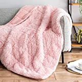 Sivio Luxury Shaggy Longfur Weighted Blanket 15lbs, Snuggly Fuzzy Faux Fur Heavy Warm Elegant Cozy Plush Sherpa Microfiber Blanket, for Couch Bed Chair Photo Props - 48'x72', Pink