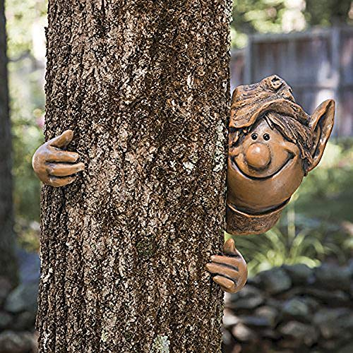 garden mile Fairy Garden Elf Tree Peeker Novelty Garden Ornaments Garden Gnome Tree Decoration Home Decor. (Elf Peeker)
