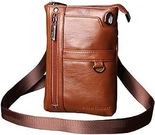 Leather Men's Mobile Phone Bag Travel Shoulder Bag Mobile Phone/Mobile Phone Bag Men's Casual Messenger Bag (Color : Brown, Size : S)