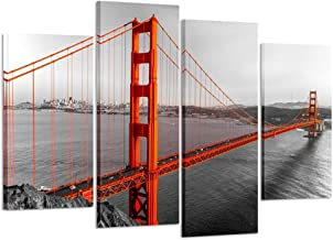 Kreative Arts Canvas Print Beautiful Golden Gate Bridge San Francisco California Black White Red Wall Art Home Decoration Picture Framed 4 Panel Ready to Hang