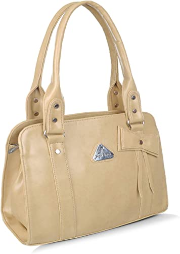 Women s girls handbag shoulder bag 5no heavy zip cream beige 694