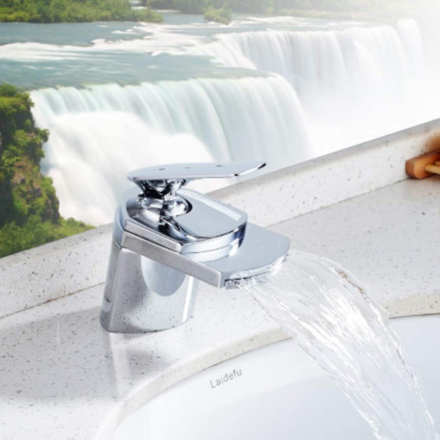 FUJUNJIE Waterfall basin faucet???single handle waterfall spout faucet???with pop-up drain