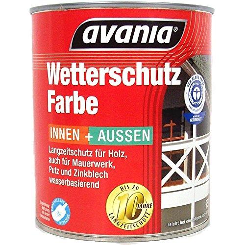 Avania Langzeitschutz Acryl Wetterschutzfarbe innen & Außen 0,75 Liter Farbwahl, Farbe:Weiß