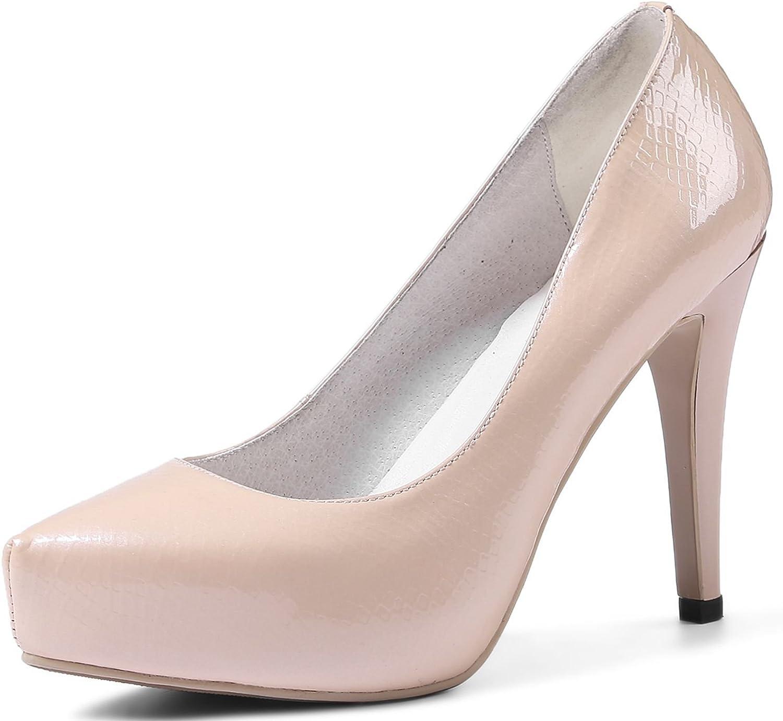 VIMISAOI Women's Leather High Heel Sexy Pointed Toe Stiletto Dress Pumps