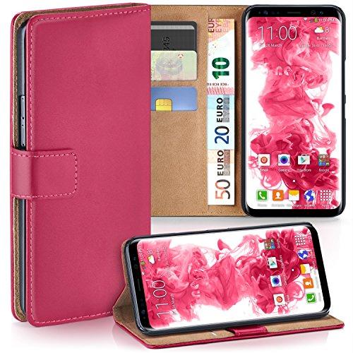 MoEx Premium Book-Case Handytasche passend für Samsung Galaxy S8 | Handyhülle mit Kartenfach und Ständer - 360 Grad Schutz Handy Tasche, Pink