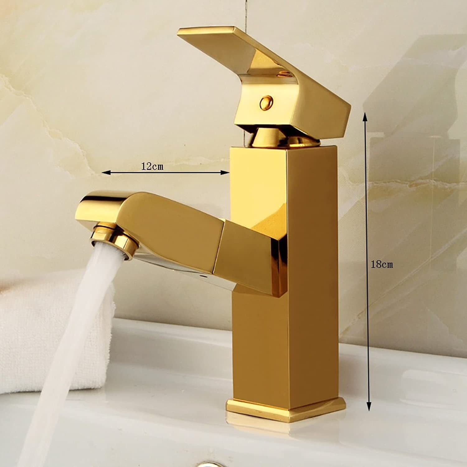 ZJM Single Handle Pull-out Basin Mixer All Copper Faucet Mirror Surface golden (Size   Cuboid 1)