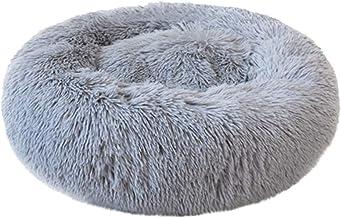 Weesey Panier rond en peluche Lit Canap/é Oreiller en forme de beignet pour animaux de compagnie chats et petits chiens 40cm gris clair