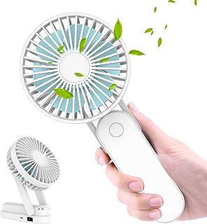WOWGO Ventilador de Mano, Ventiladores USB Portátil con 3 Velocidades, Recargable Batería de 2500mAh y Collar