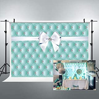 Riyidecor Diamonds Bowknot Backdrop Blue Aqua Turquoise Birthday Photography Background 7x5 Feet Teal Bridal Shower Decoration Wedding Celebration Props Lattice Girl Photo Shoot Table Vinyl Cloth