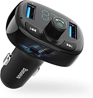 Baseus Blue FM Transmitter for Car, [3Th Generation] QC3.0 3.4A Wireless Tooth FM Radio Adapter MP3 Music Player FM Transmitter Car Kit with Hands-Free Calls 2 USB Ports Charger TF Card
