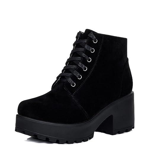 bf73295c9ec Black Platform Boots: Amazon.co.uk