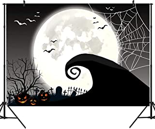 DULUDA 7x5ft Halloween Nightmare Themed Backdrop Horror Night Full Moon Pumpkin Birthday Party Wall Table Décor Spider Web Flying Bat Photography Backdground Photo Booth Props HW36
