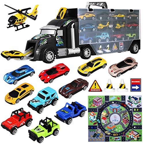 iBaseToy Transport Car Carrier Truck Toy for Boys and Girls, 18 Pieces Toy Truck Carrier with Car Toys Inside (Includes 1 Big Truck, 10 Cars, 2 Helicopters, 1 City Map & 4 Accessories)