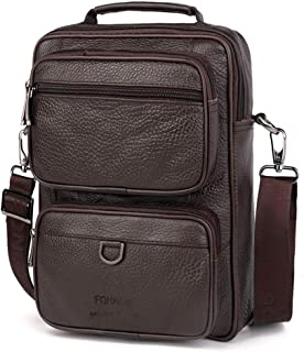 2020 Hot Men's Briefcase Man Casual Genuine Leather Bag Office Bag for Male Business Tote Document Shoulder BagHandbags (Color : Brown, Size : -)