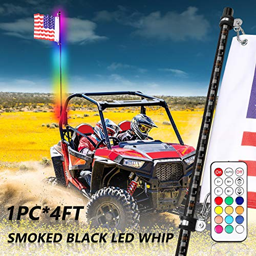 Niwaker 4ft Smoked Black LED Whip Lights with RF Remote Control RGB Chasing/Dancing Lighted Whips Antenna LED Whips for ATV UTV Polaris RZR Off Road Truck Dune Vehicle