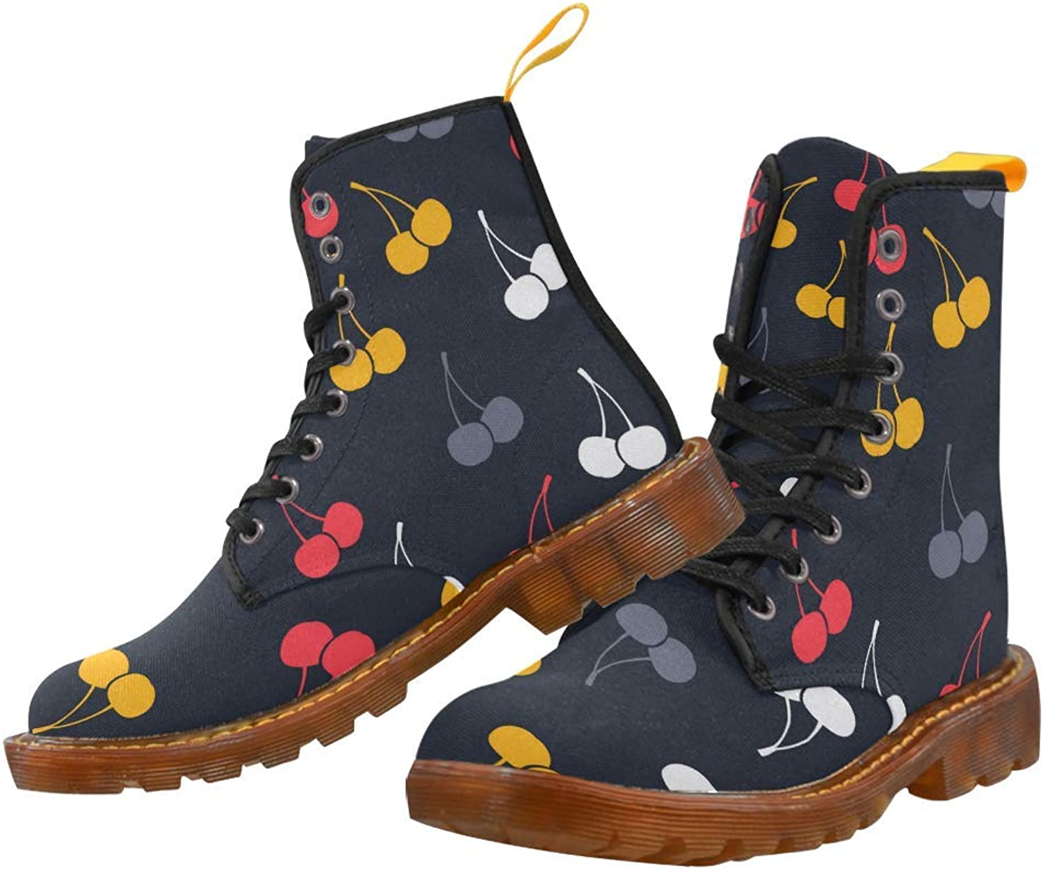 InterestPrint Women's Lace Up Boots colorful Cherries Canvas Martin Boots Combat Ankle Booties shoes