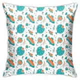 DHNKW Throw Pillow Case Cushion Cover,Flounder and Trout Naive Lino Style Algae Underwater Marine Ocean Sea Pattern ,18x18 Inches