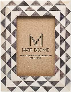 Matr Boomie Handmade Bone Tabletop/Wall Picture Photo Frame (Grey, White Triangle Mosaic, 4x6)