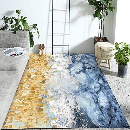 Kunsen alfombras Lavables Alfombra pie de Cama Decoración de la Sala de Estar de la habitación de los niños Antideslizantes de Alfombra Dorada Azul Alfombra Juvenil 80X160CM 2ft 7.5' X5ft 3'