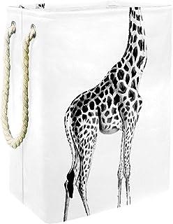 EZIOLY Panier à linge pliable vintage girafe avec poignées et supports amovibles pour vêtements, jouets, rangement dans la...