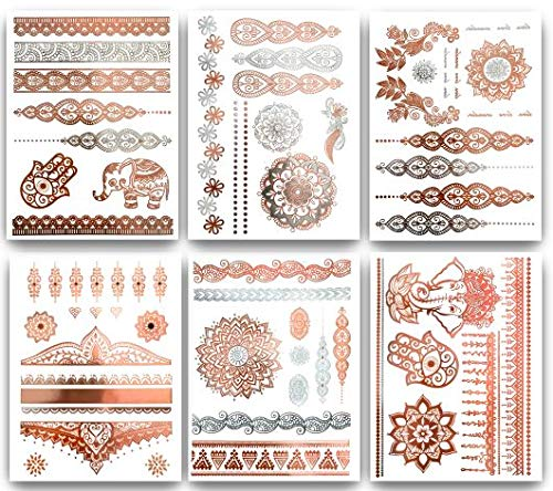 Terra Tattoos Temporary Henna Metallic Tattoos - Over 75 Mandala Tattoos (Rose Gold)