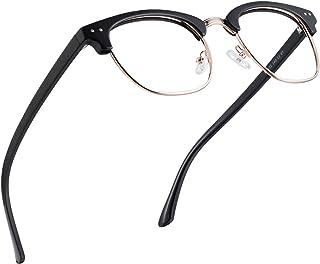 Blue Light Glasses Men Women,Blue Light Blocking Glasses for Computer Gaming/TV/Phones Anti Eye Strain,Semi Rimless Anti Blue Light Blocker Eyewear(Black&Gold)