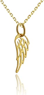 24k Gold Plated Sterling Silver Tiny Angel Wing Charm Necklace, 18