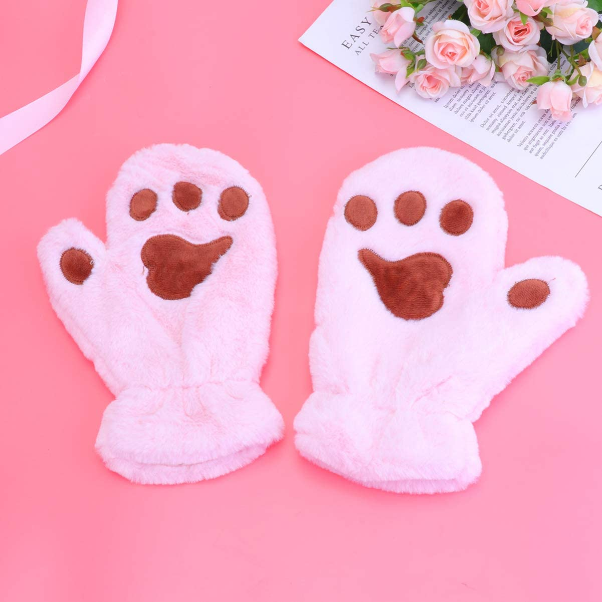 TENDYCOCO Cute Mittens Plush Paw Gloves Cat Claw Gloves for Kids Cold Weather Mittens Baby