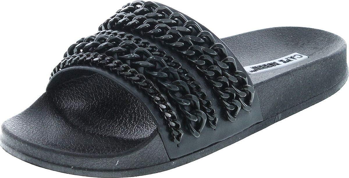 Cape Robbin Moira-18 Women Metallic Chained Flat Sandal - Casual Lounge Street Fashion Open Toe Slide,Black,6