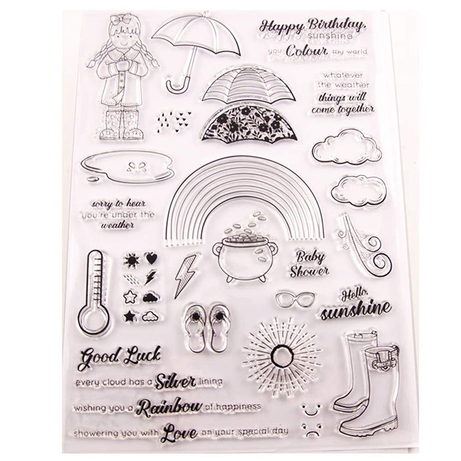 WYSE Big Weather Umbrella Clear Rubber Stamps Seal for DIY Decoration Scrapbooking Paper Card (Weather Stamp)