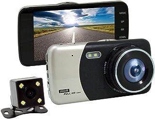 BYBYC 4 Pulgadas HD 1080P 170 ° de Ancho de Doble ángulo de la Lente DVR con la cámara de vídeo Trasera del automóvil Dash CAM grabadora de cámara de visión Nocturna del G-SensorPlata