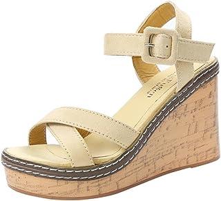 fd0b1f3a5c Lolittas Wedge Sandals Women Ladies, Summer Walking Leather High Heel  Platform Wide Fit Peep Toe