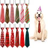 Syhood 12 Pieces Christmas Large Dog Ties Xmas Large Pet Neckties Xmas Tree Snowman Snowflake Pattern Neck Tie for Christmas Party Dog Grooming Accessories
