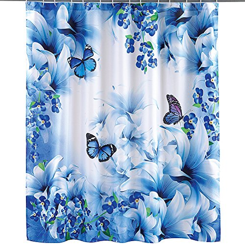 Collections Etc Blue Butterfly Garden Decorative Bathroom Shower Curtain with Rings
