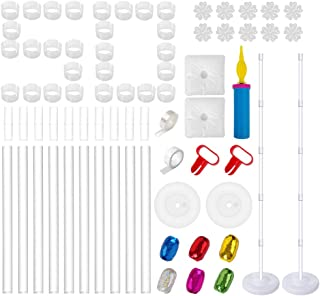 Balloon Column Kit - 2 Set Water Fillable Balloon Base and 61 inch Height Pole and 50Pcs Balloon Rings, Extra Balloon Arch Garland Strip and Ribbons, Balloon Tower Decoration for Best for Birthday, We