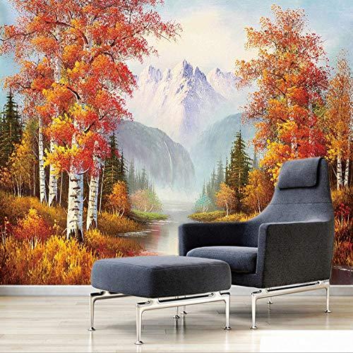 Fotomurales Bosque De Otoño Bosque De Abedules 200X150Cm Xxl Papel Pintado Tejido No Tejido Decoración De Pared Decorativos Murales Moderna De Diseno Fotográfico