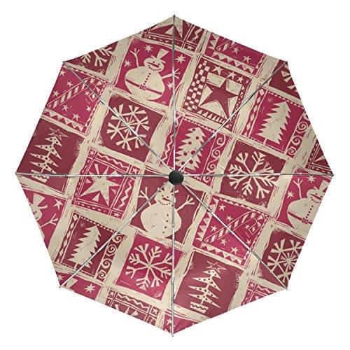 TIZORAX Kerstboom Snowman Sneeuwvlok Winddicht Opvouwbare regen Reizen luifel Paraplu Auto Open Sluit Knop