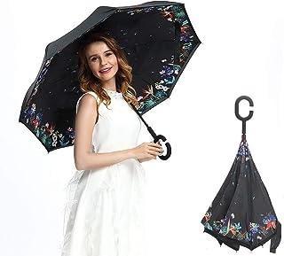 MOTOSTAR 長傘 逆折り式傘 手離れC型手元 車用傘 自立傘 遮光遮熱耐風 撥水 UVカット 8本骨 晴雨兼用 男女兼用 2年保証