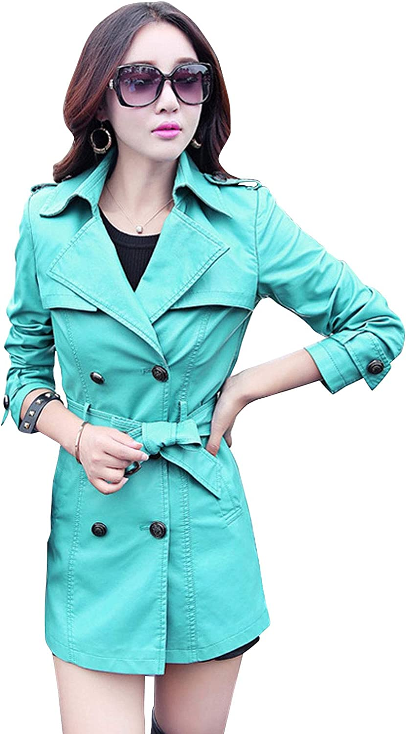 ebossy Women's Double Breasted Faux Leather Trench Coat Jacket with Belt