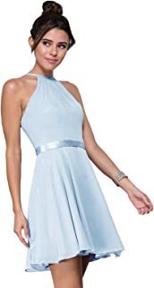 Women's Halter Spaghetti Straps Chiffon Short Homecoming Dress Formal Evening Party Gown with Belt